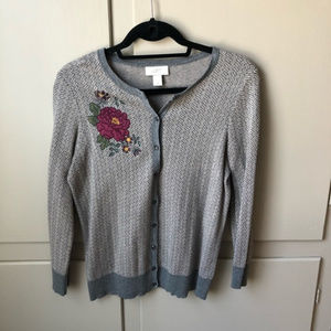 LOFT Outlet Sweater with Floral Appliqué